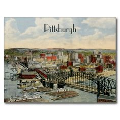 Vintage postcard showing a view of the rivers of Pittsburgh, Pennsylvania in 1931 at what is today Point Park, where the Ohio River, the Allegheny River, and the Monongahela River all meet to form a triangle. Photo Postcards, Vintage Postcards, What Is Today, Ohio River, Life Goes On, Great View, Custom Posters, Postcard Size