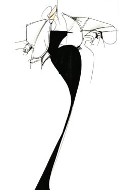 Ferre's sketch for Fall/Winter 1986 collection