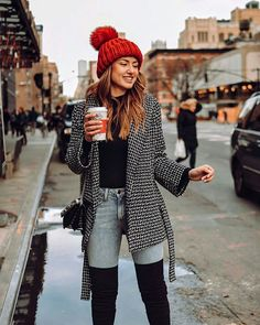 20 Outfits We Want to Copy Right Now - Black sweater with a red beanie, patterned coat and thigh high boots. Visit Daily Dress Me at daily - Winter Mode Outfits, Stylish Winter Outfits, Cute Fall Outfits, Winter Fashion Outfits, Autumn Fashion, Casual Outfits, Fashion Dresses, Fashion Boots, Outfits With Red