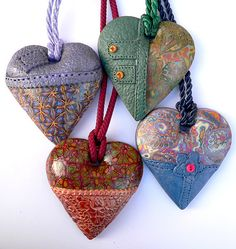 Heart pendant-Heart necklace-Polymer clay necklace-Polymer clay pendant-polymer clay jewellery-leather pendant-heart jewellery-boho necklace