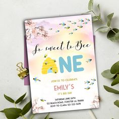 Editable Bee Birthday Invitation, Honey Bee Birthday Party, Bee Party So Sweet To Bee One Party, Instant Download , YOU PRINT Bee Party, Party Printables, Birthday Invitations, Rsvp, Birthday Parties, Honey, Baby Shower, Sweet, Etsy
