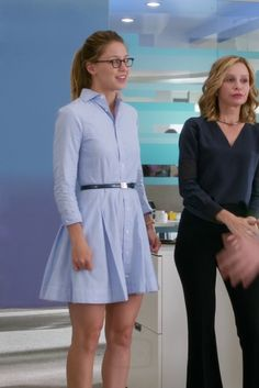 Kara Danvers / Supergirl wearing  Ralph Lauren Pleated Poplin Shirtdress, L.A. Eyeworks Dap Frames in Tortoise