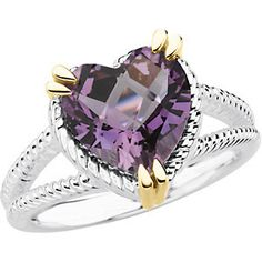 Sterling+Silver+&+14K+Yellow+Gold+Heart+Amethyst+Rope+Design+Ring