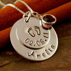 hand stamped baby bithday necklace! how cute!!