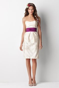 ivory short knee length bridesmaid dress with fuchsia belt sweetheart neck, different color belts?