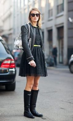 LOVE THIS edgy rainy day look, especially the dress! I own a moto jacket, but need a new LBD and rain boots. (I live in Seattle!)