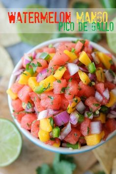 Watermelon Pico de Gallo - Oh-so-refreshing watermelon pico de gallo with sweet mango chunks!