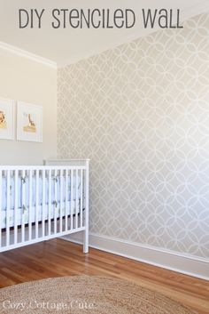 Cozy.Cottage.Cute.: Stenciled Wall - Before and After --> LOVE this idea to add architectural interest, maybe in the master bed room, or my office ... or the hallway....