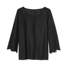 Gap Women Eyelet Three Quarter Sleeve Blouse ($70) ❤ liked on Polyvore featuring tops, blouses, tall, true black, gap blouses, patterned tops, eyelet blouse, three quarter sleeve blouses and three quarter sleeve tops