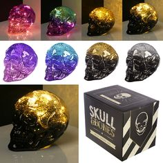 Decorative LED Light - Metallic Two Tone Skull - Battery Night Lamp Ornament Xmas Presents, Birthday Presents, Modern Plant Stand, Night Lamps, Present Gift, Skull And Bones, Quilt Cover, Light Shades, Free Gifts