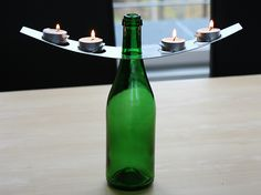 Portavelas en acero inoxidable y vidrio B-LIGHT Colección Vino by OPOSSUM Design