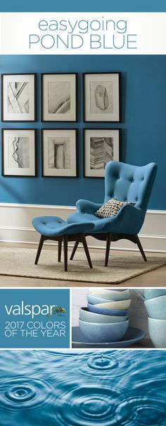 """""""This watery blue has a touch of gray, making it easy to pair with a wide range of colors."""" Sue Kim, Valspar Color Strategist. One of 12 Valspar 2017 Colors of the Year: Roadster Blue 4006-6B at Lowe's.  https://www.askval.com/ColorsOfTheYearLanding/Easygoing-Pond-Blue"""