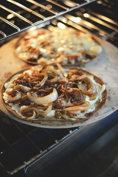 Flatbreads With Goat Cheese, Caramelized Onions, And Basil Recipe ...