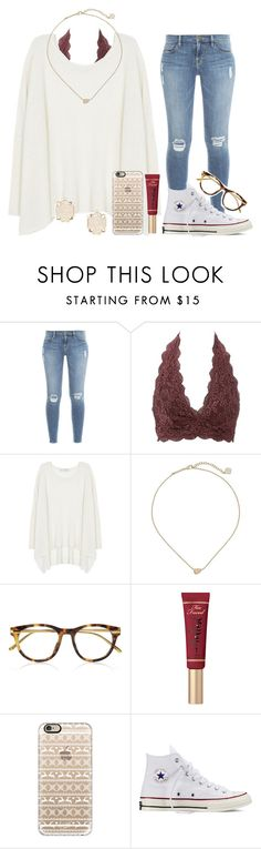 """READ DESCRIPTION PLEASE!!!"" by chevron-volleyball ❤ liked on Polyvore featuring Frame Denim, Charlotte Russe, Century Seven, Kendra Scott, Linda Farrow Luxe, Too Faced Cosmetics, Casetify and Converse"