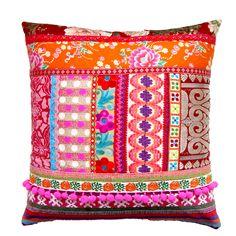 Ethnic  Patchwork Pillow Cover ~ madebylisajane