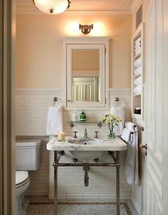 I love bathroom design in Manhattan bathrooms, because it forces designers to economical with space, as opposed to these ridiculous sprawling bathrooms that are such a waste. Gorgeous example: this vintage-inspired stunner, in an Upper West Side townhouse by John B. Murray, Architect. Beautiful use of soft colors, classic subway tile, traditional mouldings, and wonderful marble sink.