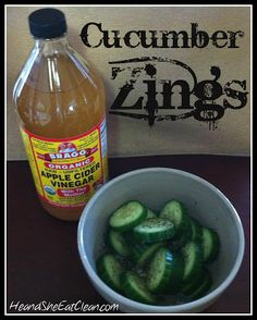 and She Eat Clean: Clean Eat Recipe :: Cucumber Zings.He and She Eat Clean: Clean Eat Recipe :: Cucumber Zings. Real Food Recipes, Snack Recipes, Cooking Recipes, Yummy Food, Clean Eating Diet, Healthy Eating, Grapefruit Recipes, Vinegar Cucumbers, Healthy Snacks