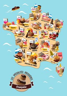 Map of pastries in France French Language Lessons, French Language Learning, French Lessons, France Map, France Travel, When In French, Food Map, French Classroom, Brest