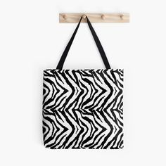 Animal Print Zebra Stripes Black and White Abstract Design 2 Tote Bag #zebraprint #animalprint #blackandwhite #tote #bags #fashionstyle #love #zebrastripes #zebra #fashionista