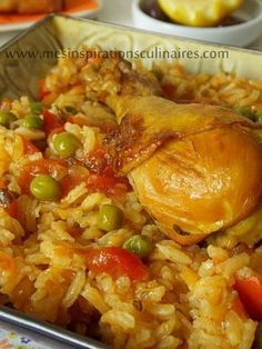 Rice with chicken / Algerian cuisine, Meat Recipes, Healthy Dinner Recipes, Chicken Recipes, Cooking Recipes, Algerian Recipes, Ramadan Recipes, Food Inspiration, Good Food, Dishes