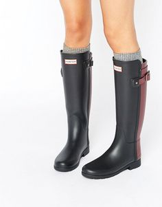 Hunter   Hunter Original Refined Back Strap Contrast Tall Wellington Boots