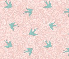 On theme/general color. Maybe too much pink. Take Flight, Cotton Candy fabric by sparrowsong on Spoonflower - custom fabric