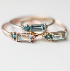 Aquamarine & Topaz Balcony Rings | MelanieCaseyJewelry on Etsy