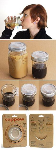 Cuppow. Turns mason jars into traveling mugs.