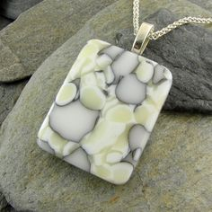 Fused Glass Pendant White & Ivory Organic by LindsaysDesigns