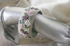 """Браслет """"Утренняя гортензия"""" с цветами из полимерной глины - цветы,цветочный"""