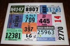 marathon and other race tags....instead of just throwing them in the sun room