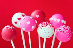 Valentine cake pops by RuthBlack. Cake pops decorated with sugar hearts and sprinkles Wilton Candy Melts, Chocolate Cake Pops, Chocolate Sprinkles, Melting Chocolate, Cakepops, Valentine Cake, Valentines, Valentine Chocolate, Cupcakes
