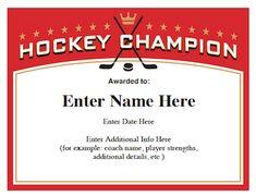 hockey certificates templates image