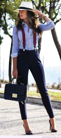 Chic office look inspiration, love the accessories