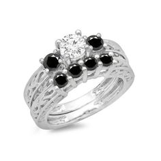 1.50 Carat (ctw) 18K White Gold Round Cut Black & White Diamond Ladies... ($1,569) ❤ liked on Polyvore featuring jewelry, rings, wedding rings, white, engagement rings, 3 stone round diamond ring, black ring and white gold engagement rings