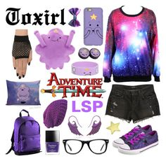 """""""Lumpy Space Princess"""" by toxirl ❤ liked on Polyvore featuring Caribee, Converse, Noor Fares, Muse, J Brand, purple, adventuretime, lsp and lumpyspaceprincess"""