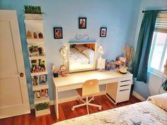 IKEA micke table, micke cabinet and ikea shelf. Lighting from ikea as well, was hard wired but converted to wall plug. Ikea Vanity, Vanity Desk, Ikea Micke, Ikea Table, Ikea Shelves, Wall Plug, Corner Desk, Shelf, Cabinet