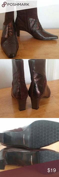 Monzo & Franco Oyster Leather Ankle Boots Beautiful pair of boots from Monzo & Franco. Genuine brown leather and suede with metallic embossed leather. Size 6.5M with a 2 inch heel. Like new condition, no box or tags.  Free gift wrapping available on request. Monzo & Franco Shoes Ankle Boots & Booties