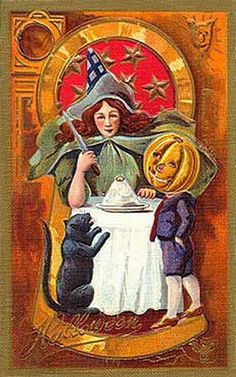 Witch, Pumpkin Head, and Cat