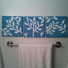 simple DIY canvas paintings for the bathroom @Katie Hrubec Schmeltzer Schmeltzer Fitzgerald we've got to do something!