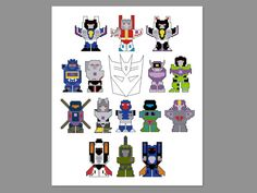 Transformers Decepticons G1 Pixel People Character Cross Stitch PDF PATTERN ONLY