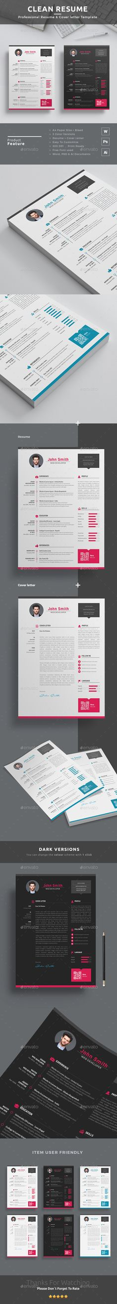 Best Resume/CV Design Template + Free Cover Letter Template | MS WORD + PSD + AI…
