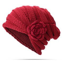 Womens Ethnic Wool Flowers Knitted Hat Beanie Hat Vintage Good Elastic Warm  Winter Turban Caps is hot sale on Newchic. e8fc1cb9f66f