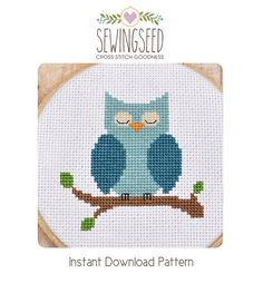 Blue Owl Cross Stitch Pattern available for instant download via Etsy Pattern Details: This pattern is in PDF format and consists of an example photo, a floss list, and a color symbol chart. You can see a small sample of the color symbol chart in the last photo. General instructions on