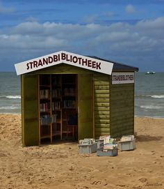 "beach library  ""De Haan"". Belgian coast."