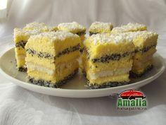 Prajitura cu mac si crema de vanilie 12 Merida, Mac, Tzatziki, Homemade Cakes, Something Sweet, Tiramisu, Cheesecake, Food And Drink, Sweets