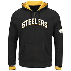 NWT MAJESTIC PITTSBURGH STEELERS ANCHOR POINT FULL ZIPPER SWEATSHIRT HOODIE XL