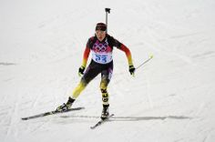 DAY 11:  Evi Sachenbacher-Stehle of Germany competes during Biathlon Women's 12.5km Mass Start http://sports.yahoo.com/olympics