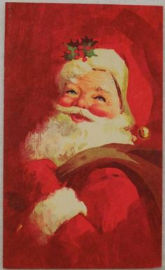 #1743 60s Norcross Mod Era Santa- Vintage Christmas Card-Greeting