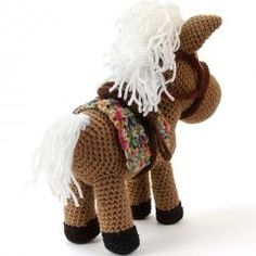 Hector the horse amigurumi pattern by Lisa Jestes Knitted Animals, Knitted Bags, Half Double Crochet, Single Crochet, Poney Crochet, Free Crochet, Crochet Hats, Ty Toys, String Bag